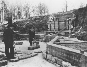 1 Lilly Pond Construction Alfred Caldwell on left with can ca 1934-35 TH Photo